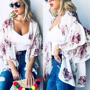 Sweaters - FINLEY Floral Print Kimono Cardigan